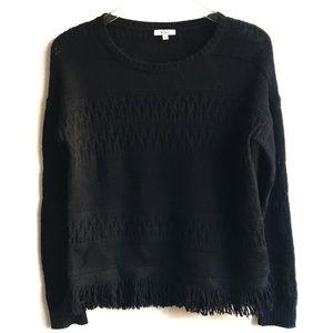 Rails Black Natalie Fringe Wool Cashmere Sweater S